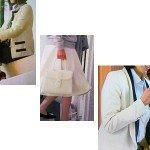 遠野 リサ(中谷美紀さん)ドラマ着用衣装「ゴーストライター1話2話」白いハンドバッグ・ジャケットなど