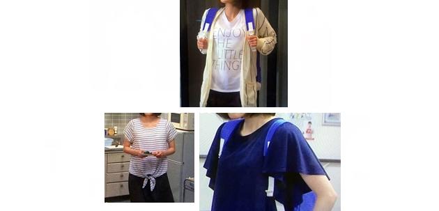 5~6話「37.5℃の涙」桃子(蓮佛美沙子さん)衣装まとめ、ロゴTシャツ・ボーダーT・紺フリル