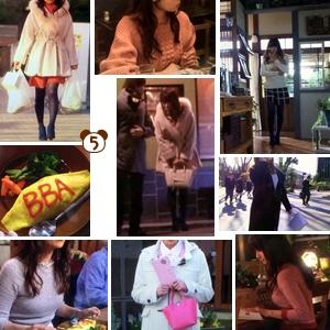 ミチコ(深田恭子さん)着用衣装【チェック柄コート・Mネックレス・白バッグなど】ダメな私に恋してください、5話